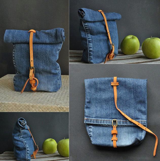 Готовая сумка из старых джинсов