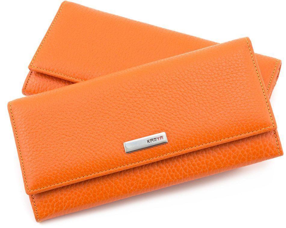 Тонкий оранжевый кошелек из натуральной кожи