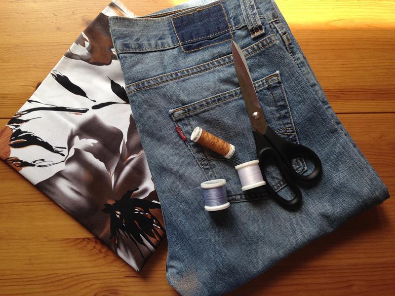 Neobhodimye-materialy Большая пляжная сумка из старых джинсов своими руками